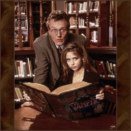 Buffy and Giles at the Library